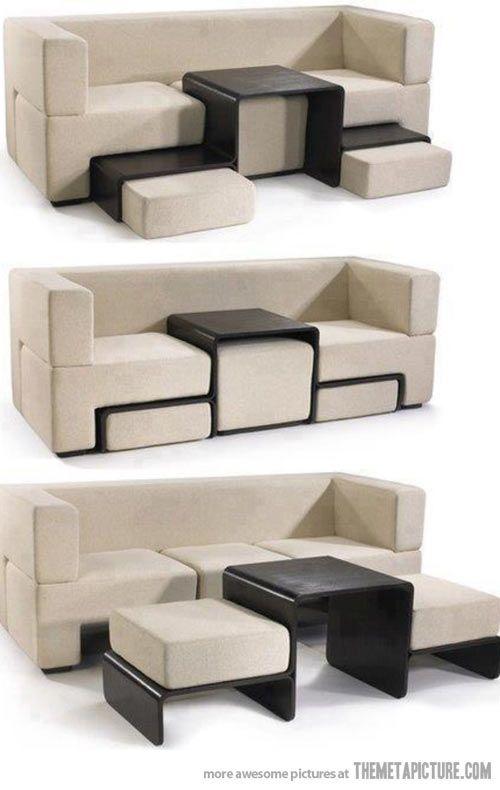 Such a good idea for a couch - adjustable/rearrangable ottomans/table!