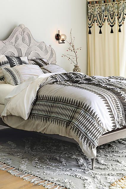 chic black and white print bedding