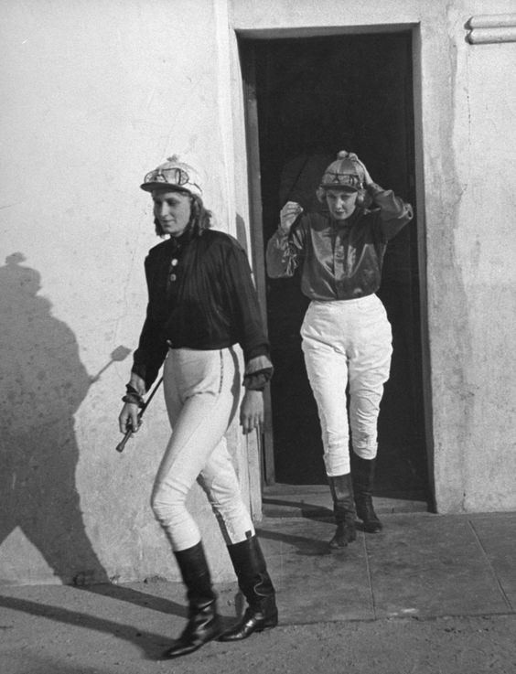 Well. they should be famous. Women jockeys ready to ride in the 1940 Powder Puff Derby at Agua Caliente in Baja California, Mexico, 1940.