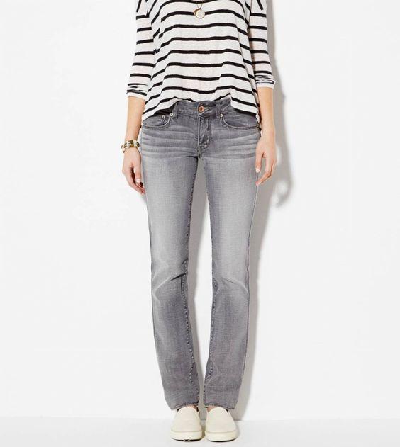 AE Straight Jean in Light Grey $29.99 #americaneagle