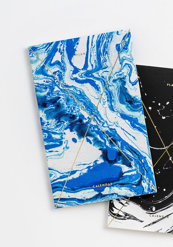 Gold Foil Any-Year Daily Planner - Marble Indigo