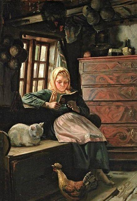 Michael Peter Ancher, Sonntagnachmittag – Interieur mit einem lesenden Mädchen: