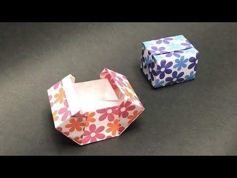 折り紙 おりがみ 簡単 ふた付 箱の折り方 作り方 開閉式 一枚折り Youtube 手作り 小物 折り紙 折り紙 箱