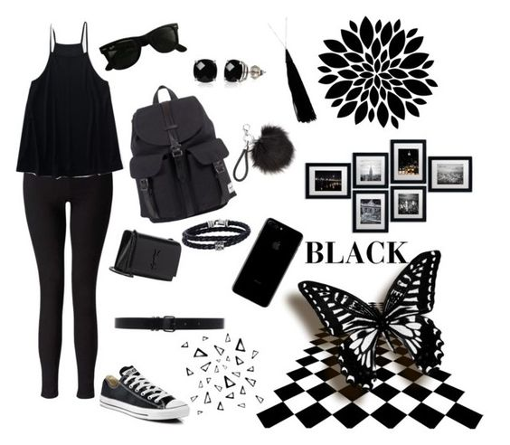 """Black"" by emmie-comer ❤ liked on Polyvore featuring Miss Selfridge, Aéropostale, Converse, Yves Saint Laurent, Herschel, Ray-Ban, Ann Demeulemeester, Phillip Gavriel, Belk & Co. and Eddie Borgo"
