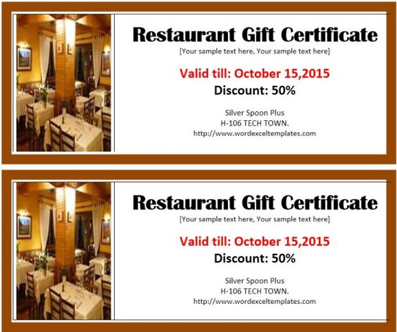 4 Free Restaurant Discount Voucher Templates With Images Gift
