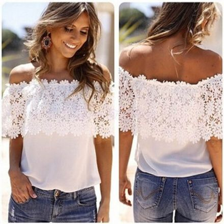 Blusa de Gasa Patchwork para Mujer - Blanco