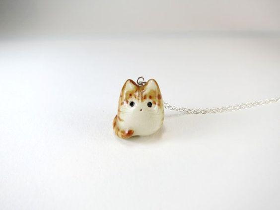 Orange Tabby Cat Necklace Tabby Jewelry Ceramic Cat by ChikoCraft