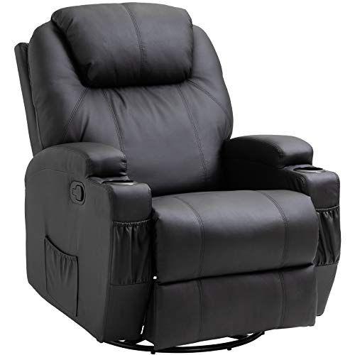 Homcom Fauteuil De Massage Relaxation Electrique Chauffant Inclinable Pivotant 360 Avec Repose Pied Ajustable Fauteuil De Massage Fauteuil Massant Canape Cuir