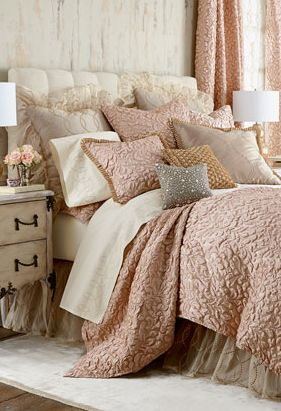Blush Bedding With Beautiful Texture Master Bedroom