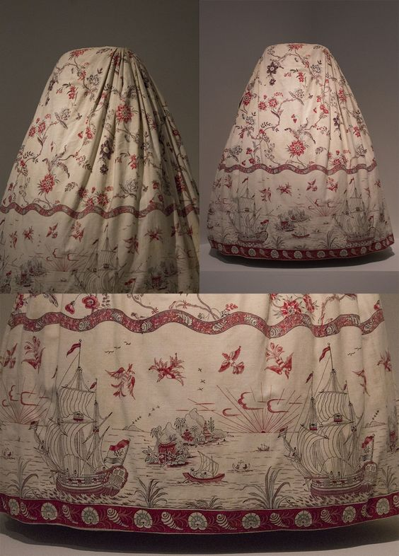 18th century skirt (Dutch cotton print, 1775-1800) with an unusual border with WIC (West-Indian Trading company) ships. The front is flat, the side and back are pleated to the waistband. Collection page: https://www.modemuze.nl/collecties/sitsen-vrouwenrok-motieven-op-witte-grond-contouren-zwart-en-rood-1