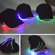 LED Lighted up Hat Glow Club Party Baseball Hip-Hop Adjustable Sports Cap ☆