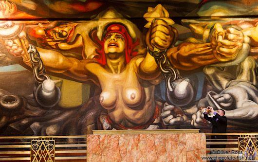 Mural entitled `La Nueva Democracia` by David Alfaro Siqueiros inside the Palacio de Bellas Artes