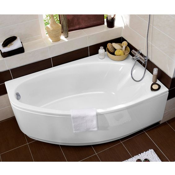 Baignoire d 39 angle en acryl amande great design for small spaces decor - Baignoire angle 130x130 ...