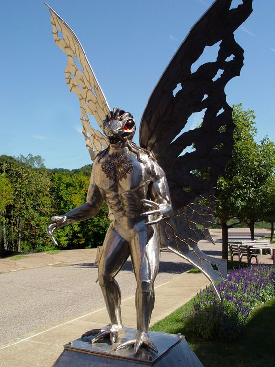A statue of the mystical Mothman creature (Point Pleasant, WV) | The Most Incredible Roadside Sights And Attractions
