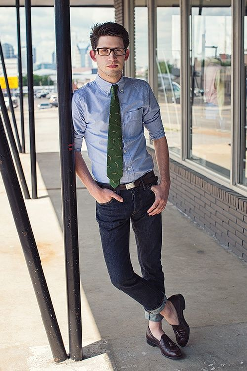 Light blue button down green tie the go to dark denim ...