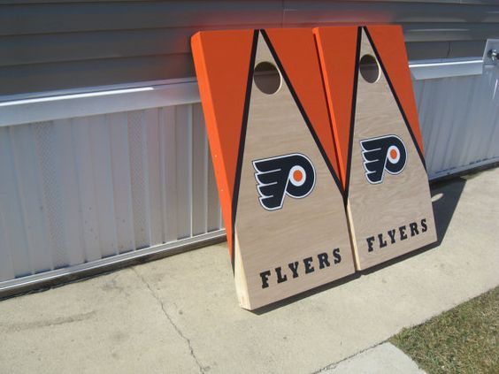 Philadelphia Flyers Cornhole Boards and bags by lawnman2880, $200.00