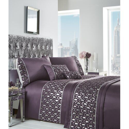 Crystal Grey Duvet Cover Bedding Bed Set or Cushion or Runner Diamante Sequin
