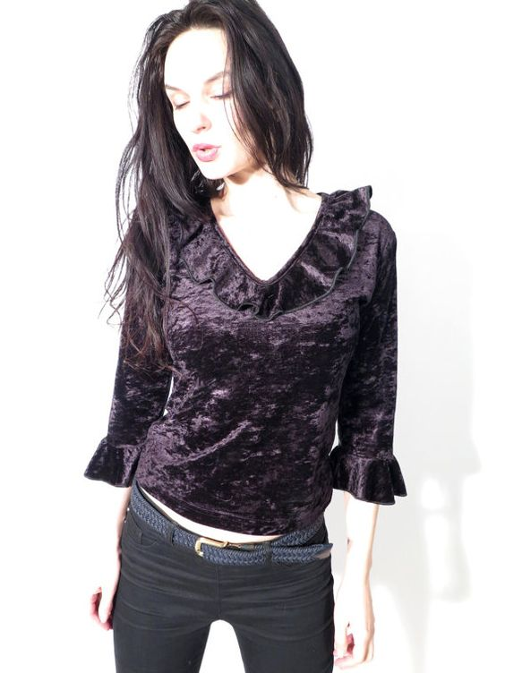 Vintage 90's Black Velvet Ruffle Collar Armpit Crop Slim Fit Top Blouse  by Ramaci