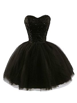 Shop Black Strapless Beaded Dress with Lace Panel from choies.com .Free shipping Worldwide.$52.99