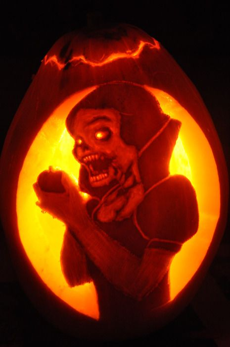 Fuckyeahhalloween snow white zombie pumpkin carved and