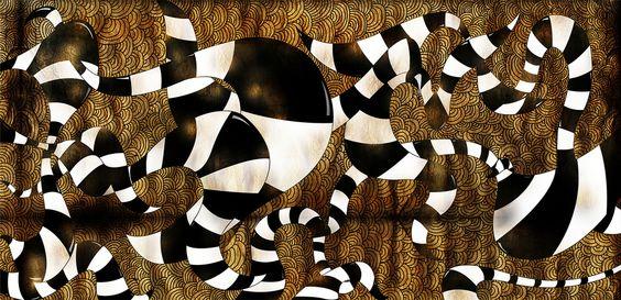 Snakes  Pintura digital impresa sobre lienzo Edición limitada de 10 piezas