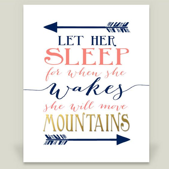 Let her sleep for when she wakes she will move mountains - Navy Gold Coral arrows hipster nusery Art Print by storybirdprints on BoomBoomPrints