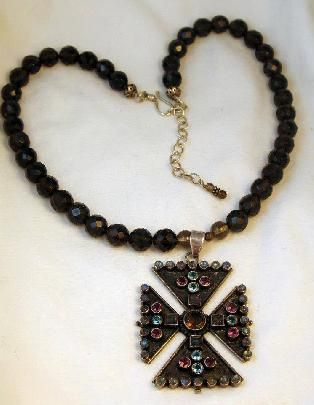 OOAK Hand Crafted Sterling Maltese Cross and Gemstone Cross Necklace