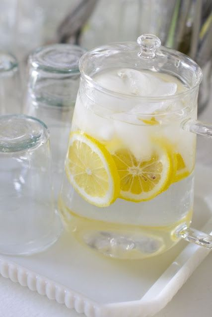 Lemon Water, or with lime. Anyway to get my 8 glasses of water a day: