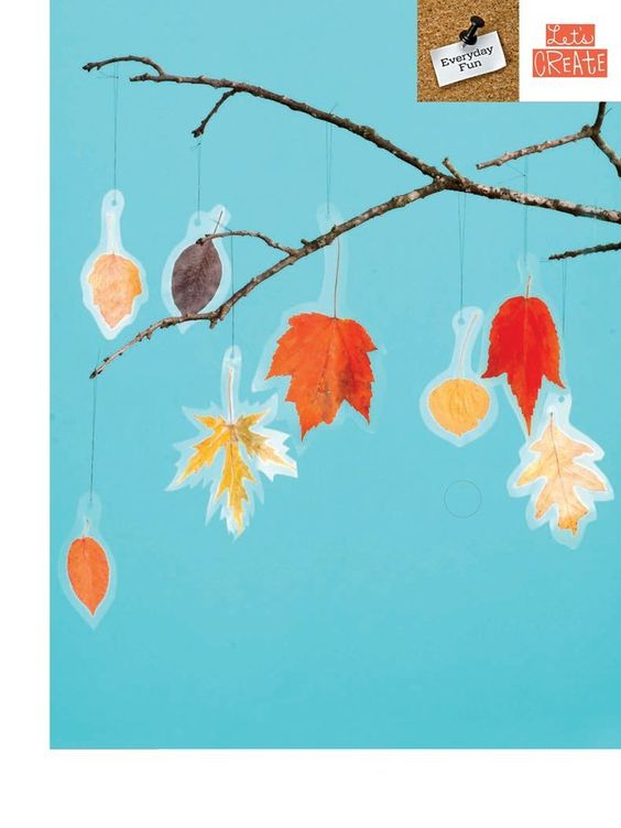 Leaf Mobile collect fallen leaves, press them in heavy book for day or two, put between 2 squares of clear con-tact paper an inch or two wider than leaf. punch a hole for hanging, trim edges leaving 1/4 inch border. hang from tree branch with thread
