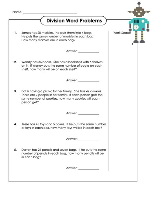 Division Word Problems – Basic Skills Math Worksheets