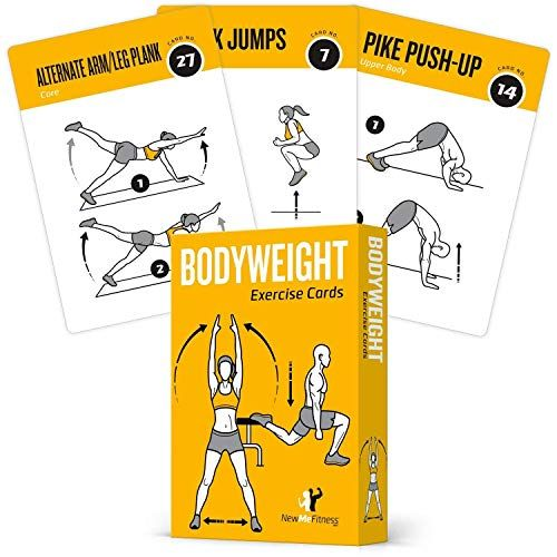 Exercise Cards Bodyweight Home Gym Workout Personal Trainer Fitness Program Guide Tones Core Ab Legs Glute Card Workout Bodyweight Workout Total Body Workout
