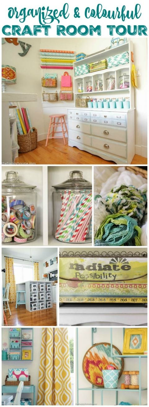 Organized & Colourful Craft Room Tour at thehappyhousie.com
