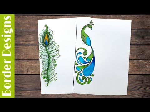 Peacock Border Designs On Paper Border Designs Project Work Designs Borders For Projects Youtube Border Design Borders For Paper Paper Design