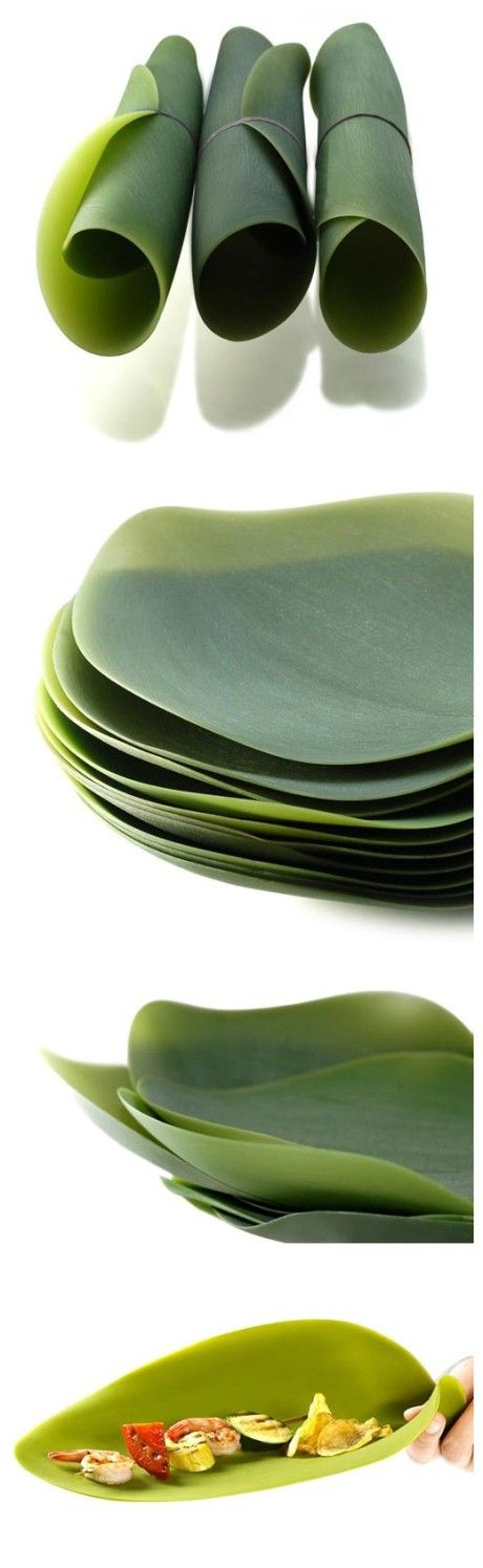 Silicone leaf plates, perfect for any fantasy creatures. Plus, they roll up and they're portable! Yes!