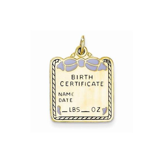 Shop the best selection of 14k Enameled Blue Engravable Birth - best of birth certificate pic