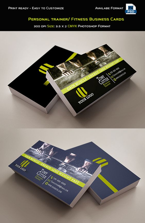 Personal trainer fitness business cards template photo for Sample personal trainer business cards