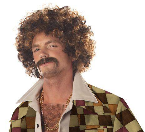 Men's Disco Dirt Bag Wig & Moustache