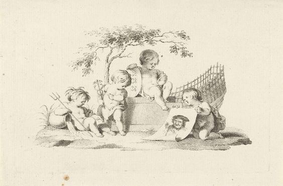 Jacob van der Schley | Vier putti met een portret van Adam Silo, Jacob van der Schley, 1725 - 1779 | Vier putti zitten bij elkaar onder een boom. De eerste houdt een drietand in de hand, de tweede een mercuriusstaf, de derde het wapen van Amsterdam, en de vierde een papier waarop het portret van schilder en prentmaker Adam Silo.
