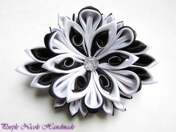 Swing - Handmade Floral Broach by Purple Nicole (Nicole Cea Mov), black and white gorgeous handmade kanzashi satin flower.