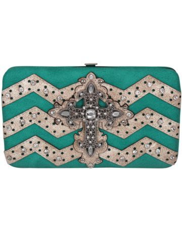 Turquoise and Beige Chevron Cross Flat Wallet