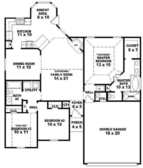 2 Bedroom 2 Bathroom House Plans Bedroom Floor Plans Basement House Plans House Plans
