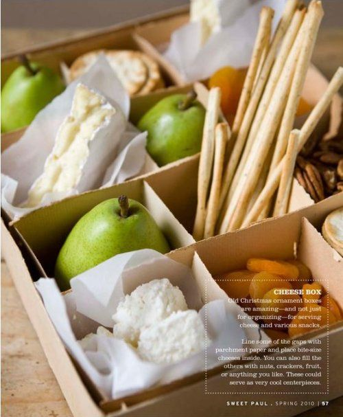 cheese box...served in ornament boxes. sweet paul magazine.