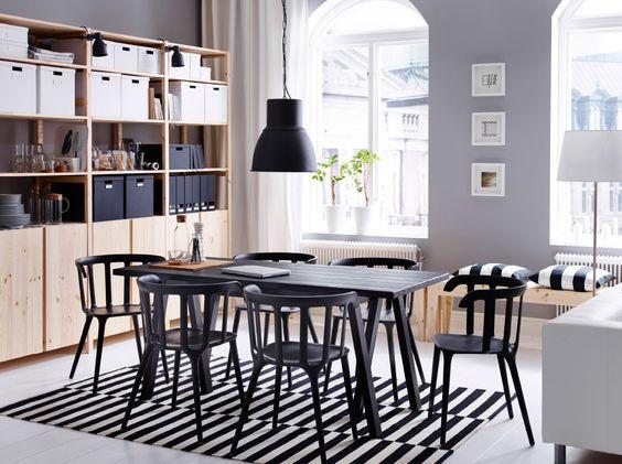ein gro er essbereich u a mit grebbestad ryggestad tisch in schwarz ikea ps 2012. Black Bedroom Furniture Sets. Home Design Ideas