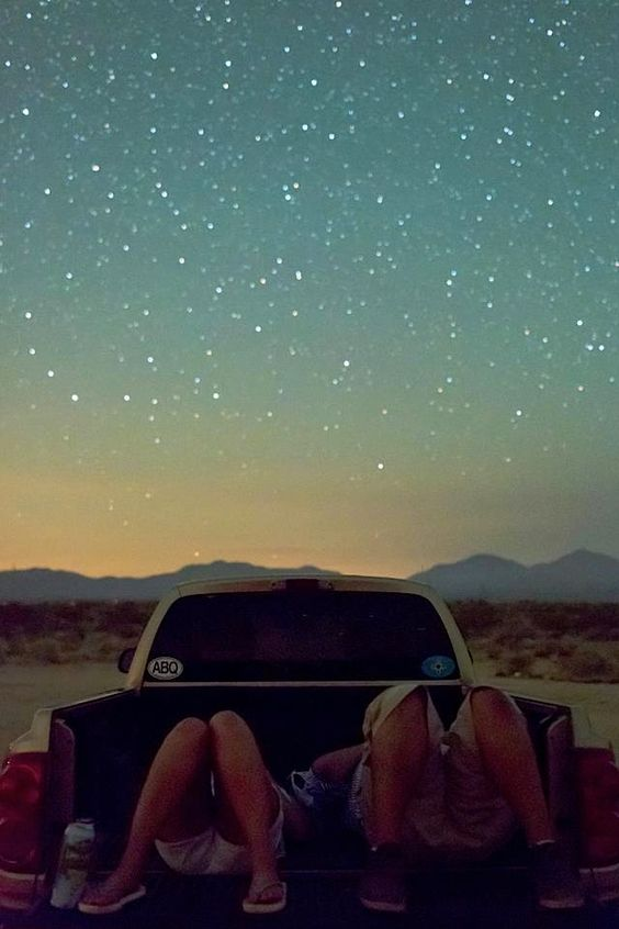 Summer Bucket List: Go Star Gazing. Lots of blankets and pillows in back of pickup truck, sky watching at its best!: