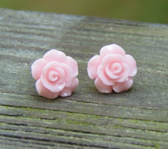 Flower Earrings  Pastel Pink Earrings  Rose by CeliaCurrinArt, $3.95