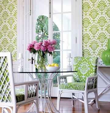 Thai Ikat wallpaper & indoor/outdoor fabric from Jubilee by #Thibaut    #ikat #indoor/outdoor #wickertable #wickerchair #spring #color #green