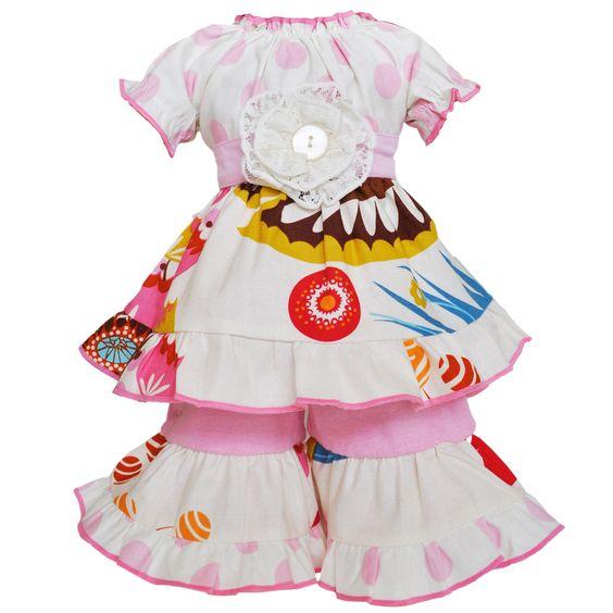 Ann Loren AnnLoren Pink Floral and Polka Dot Dress 18-inch Doll Clothing Set