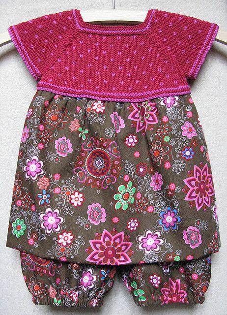 Robe Dete en Tricot et Liberty / #freepattern So cute! #crochetedtop #fabricbottoms ravelry.com