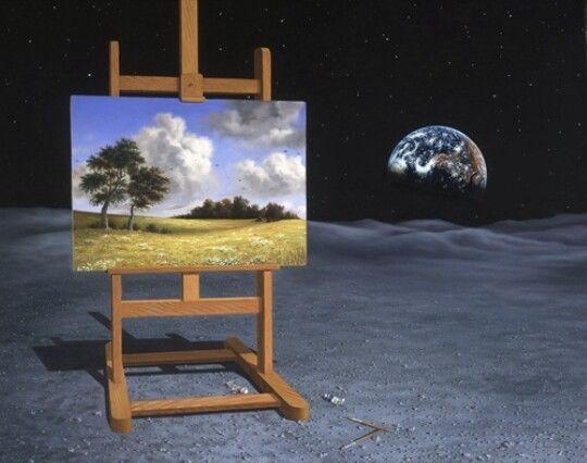 Dit is een voorbeeld van surrealism photo. Dit voorbeeld heb ik gekozen omdat het er heel erg leuk uitziet omdat het op de maan is en er is een heel ander schilderij.