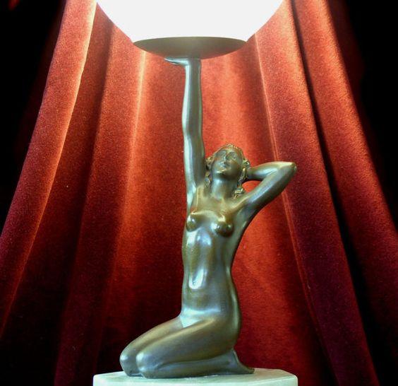 RARE Art Deco Spelter 'Stretching Nude' Globe Lamp C 1930